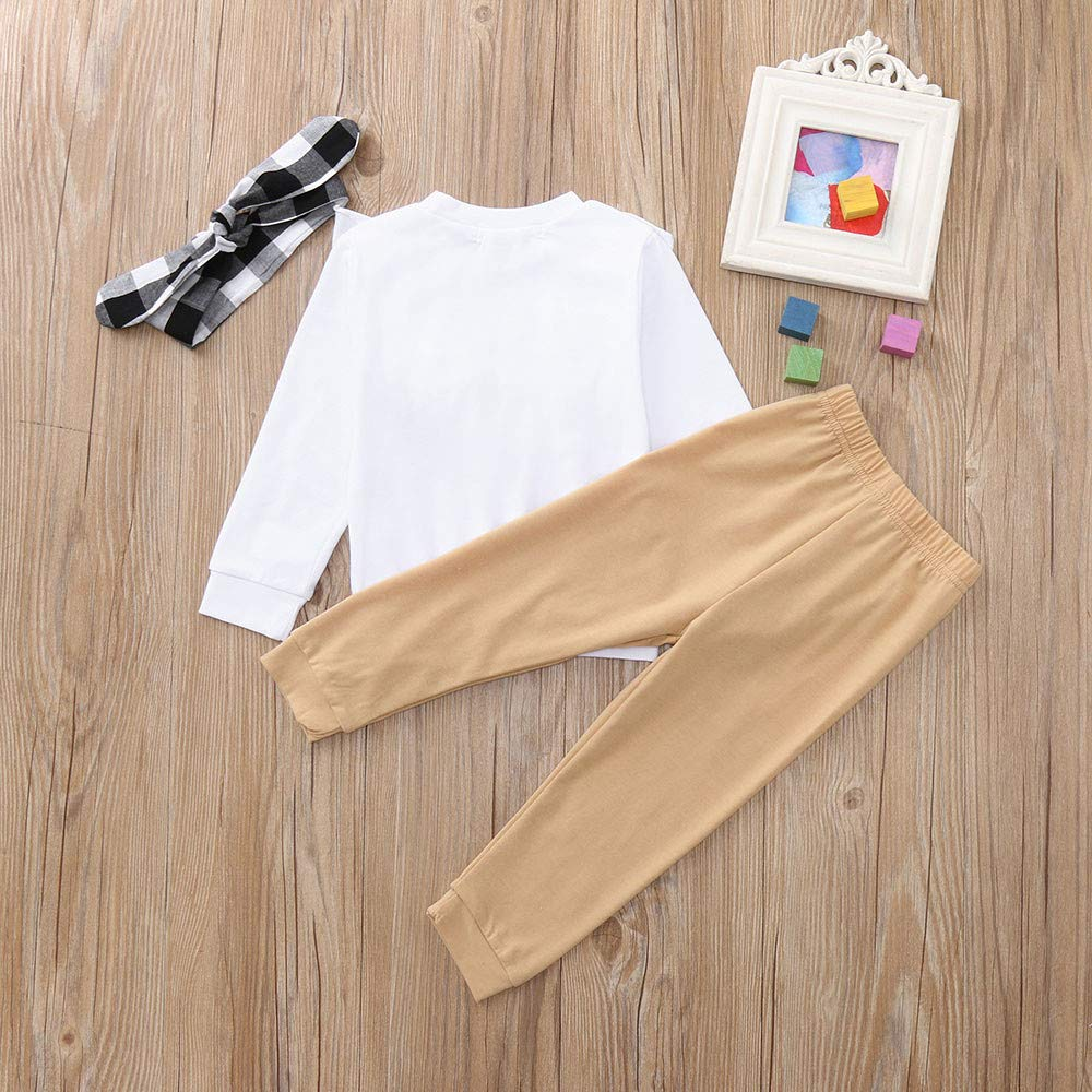 WARMSHOP No Shipping,3 PC Toddler Boys Girls Ruffles Long Sleeves Solid Tops Sweatershirt+Casual Pants+Headband Outfits