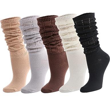 Black Tinksky Women Slouch Socks Breathable Scrunch Socks Loose Socks for Fashionable Dressing Style