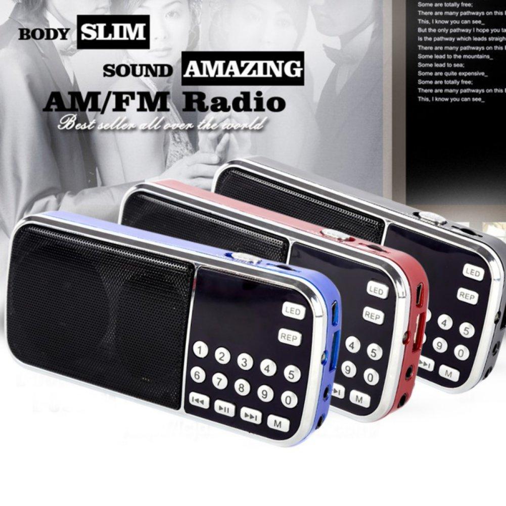Mercu Portable Mini USB Player FM Radio Outdoor Double Loudspeaker Music Player Micro SD/TF Card For PC iPod Phone(Red) by Mercu (Image #5)