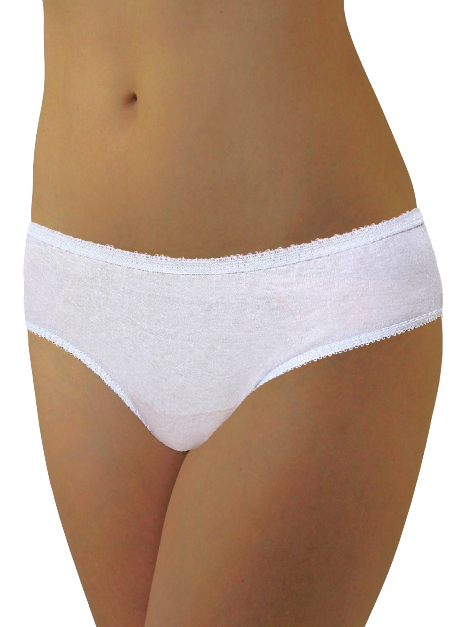 Womens Disposable 100% Cotton Underwear - for Travel- Hospital Stays- Emergencies White sm-20pk