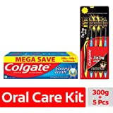 Colgate Strong Teeth Toothpaste - 200 g with 100 g and Zig Zag Medium Toothbrush (Pack of 5, Black)