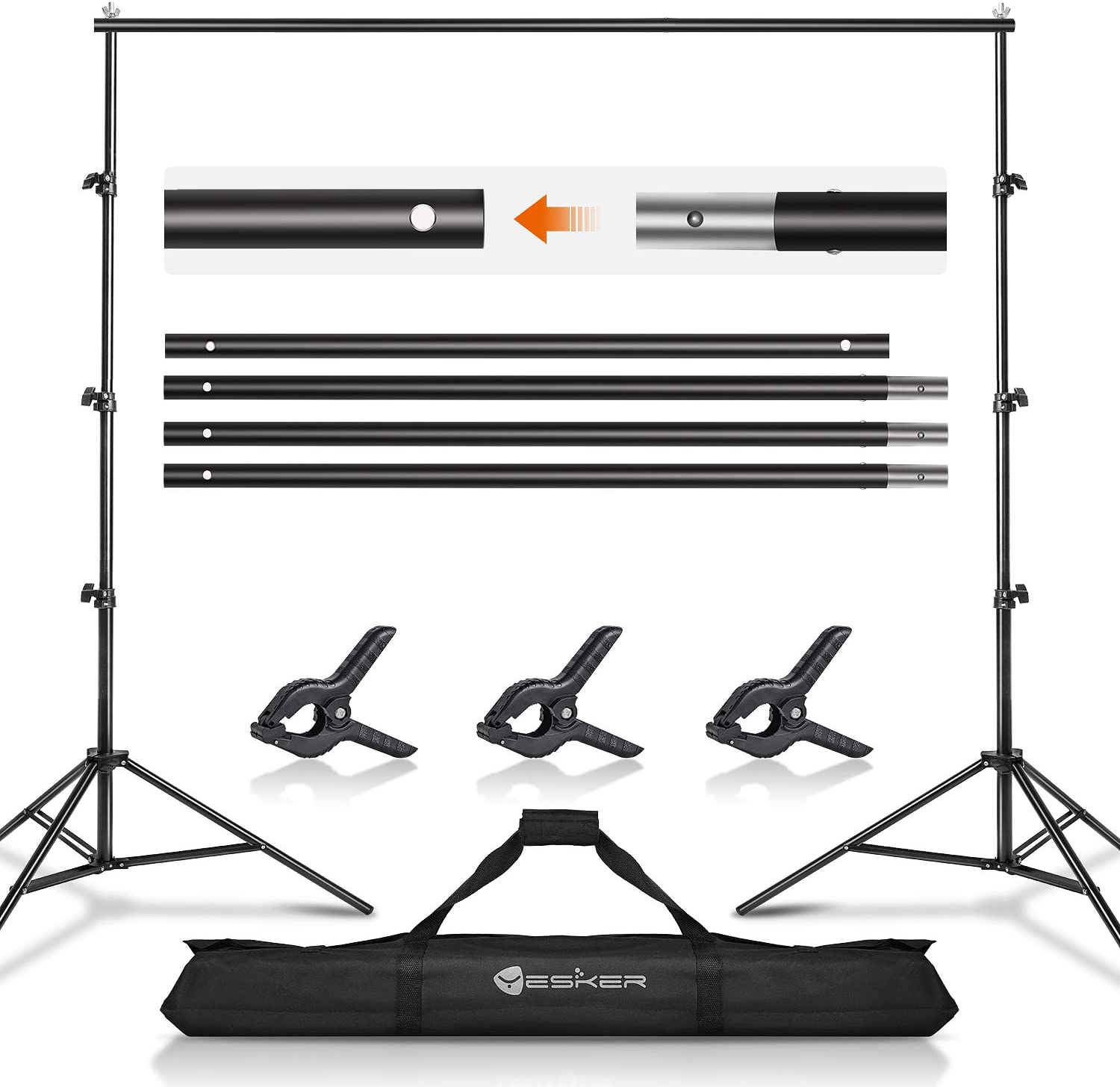 Yesker Background Stand Backdrop Support System Kit 8.5X 10ft Photo Video Studio Adjustable for Photoshoot Photography Parties Wedding with Carrying Bag