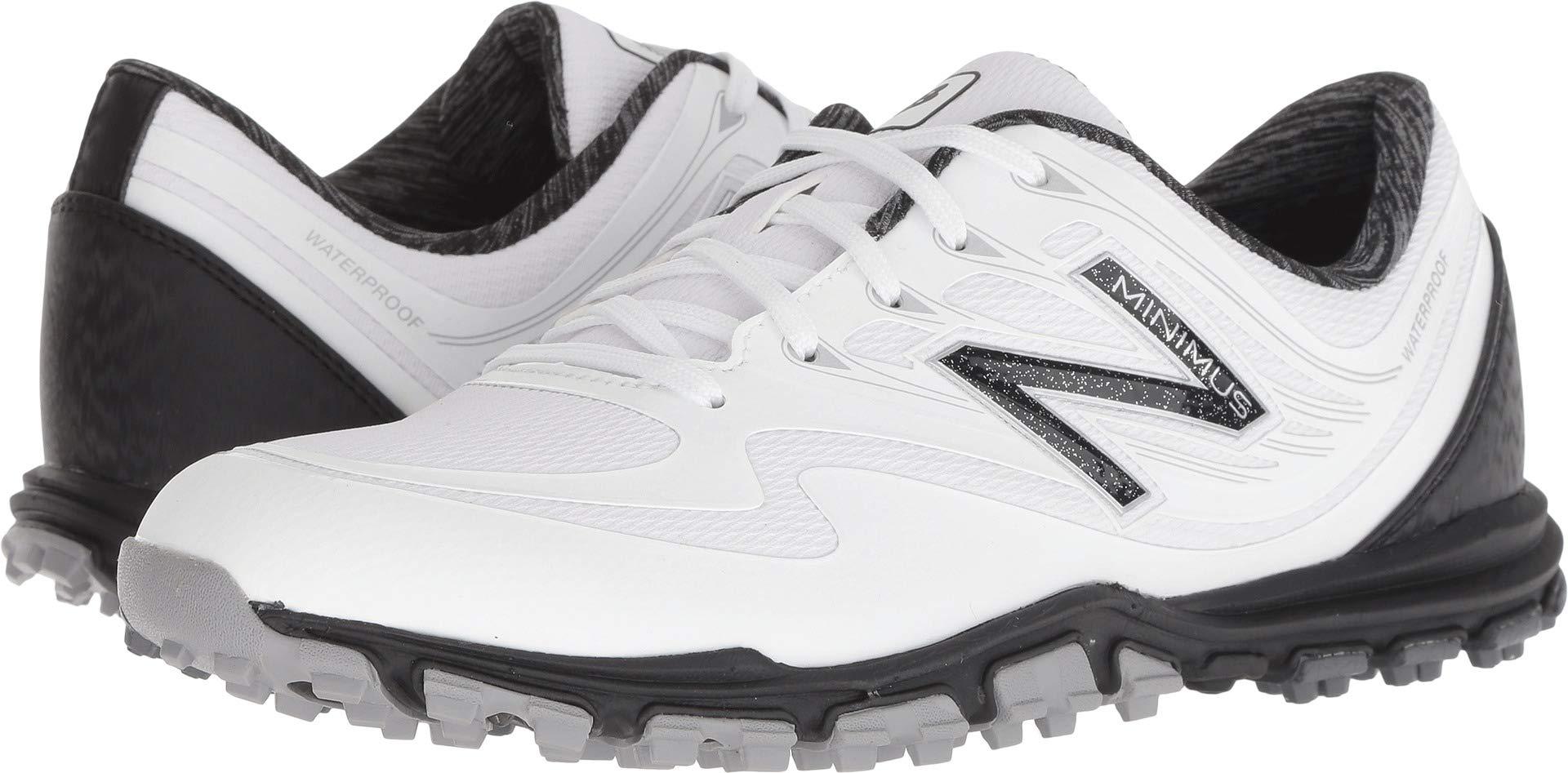 New Balance Women's Minimus WP Waterproof Spikeless Comfort Golf Shoe, White/Black, 6.5 M US