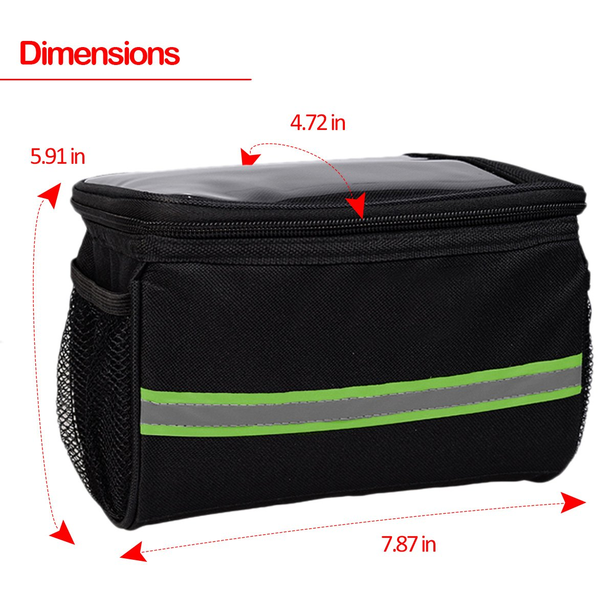 Bicycle Basket Handlebar Bag Black Zone Tech Premium Quality Handlebar Bag with Reflective Stripe for Outdoor Activity