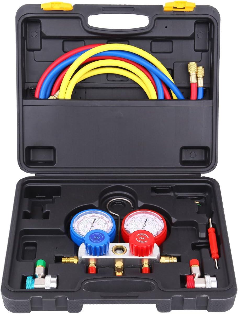 Ambienceo Kit de refrigeración automotriz de calibrador de múltiple de aire / acondicionado de aire acondicionado R134a R22 R410a R404a
