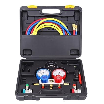 Ridgeyard Refrigeration Air Conditioning AC Conjunto de herramientas de medición de diagnóstico Múltiple R410 R404a: Amazon.es: Coche y moto