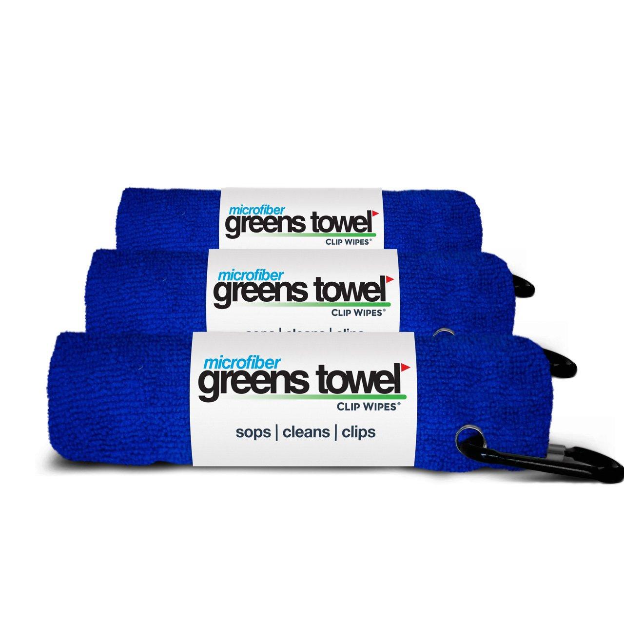3 Pack of Royal Blue Microfiber Golf Towels by Greens Towel