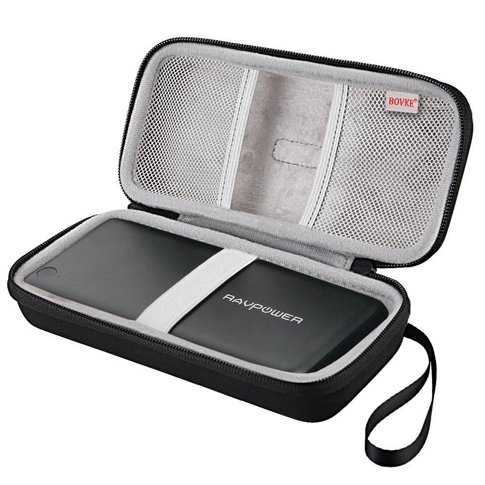 BOVKE Power Bank Carrying Case for RAVPower 26800 Battery Packs 26800mAh Total 5.5A Output 3-Port External Portable Charger EVA Shockproof Travel Storage Case Bag, Black