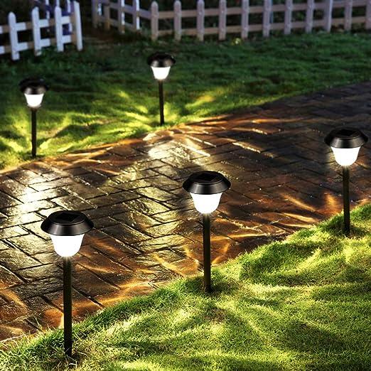 STHfficial Jardín Luz Solar De Césped 2 Piezas Luces Solares De Jardín Exterior LED Blanco Camino Lámpara Decoración Paisaje Luz Patio Patio Jardín,White: Amazon.es: Jardín