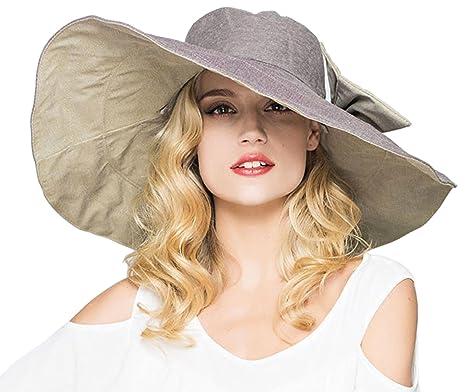 a10a8aee8ab Elonglin Womens Super Large Brim Beach Hat Brim Foldable with Bowknot Beach  Cap Sun Hat Anti