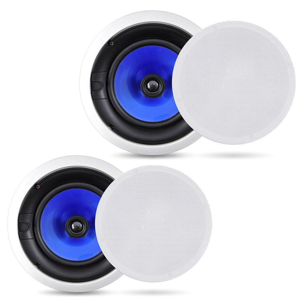 2-Way In-Wall In-Ceiling Speaker System - Dual 8 Inch 300W Pair of Ceiling Wall Flush Mount Speakers w/ 1'' Silk Dome Tweeter, Adjustable Treble Control - For Home Theater Entertainment - Pyle PIC8E by Pyle