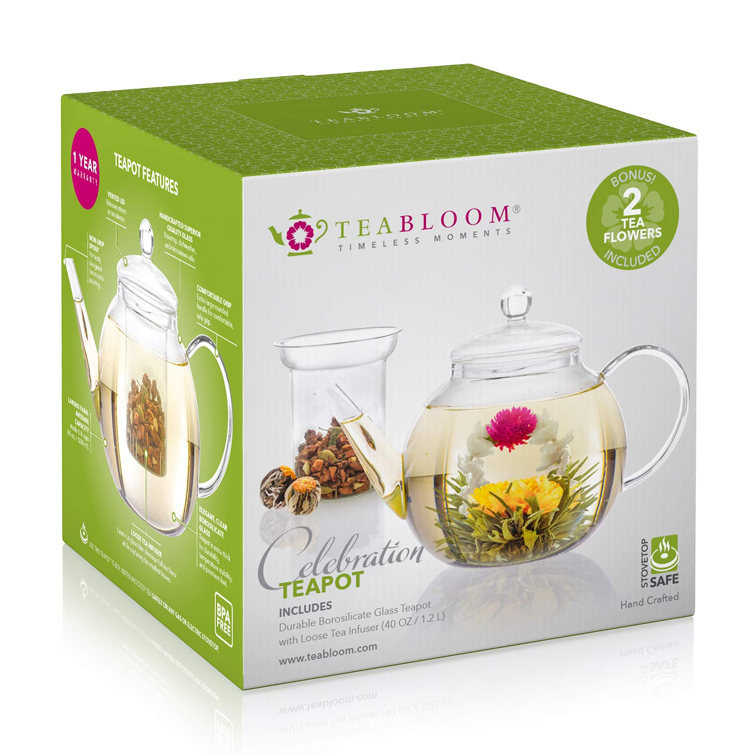 Teabloom Stovetop  Microwave Safe Glass Teapot 3440oz10001200ml with Removable Loose Tea Glass