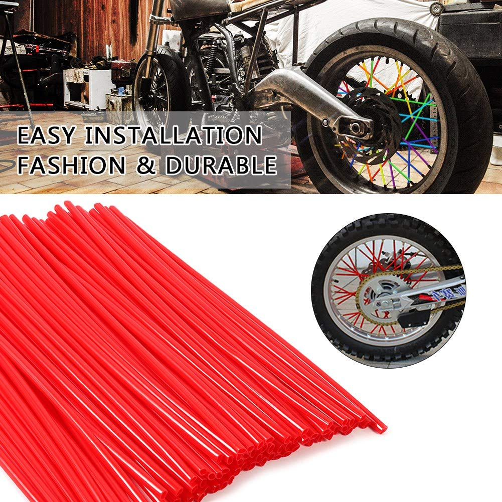 Qiilu 36pcs Wheel Spoke Protector Motocross Rims Skins Covers Off Road Motorcycle Guard Wraps Kit Red