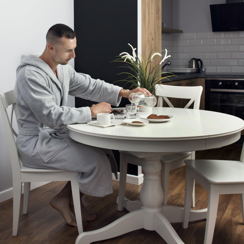 Twinzen Peignoir de Bain Homme Absorbant et Confort 100/% Coton avec Capuche XL Robe de Chambre Eponge 2 Poches Ceinture M XXL Doux Blanc XS L S Certifi/é Oeko-TEX/®