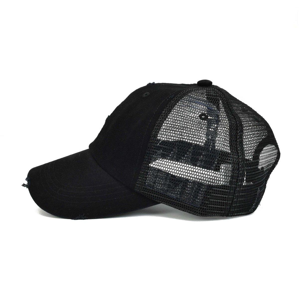 6612a1cbf2c VOBOOM Men s Vintage Washed Adjustable Mesh Trucker Baseball Cap Hat BQ020  (Black) at Amazon Men s Clothing store