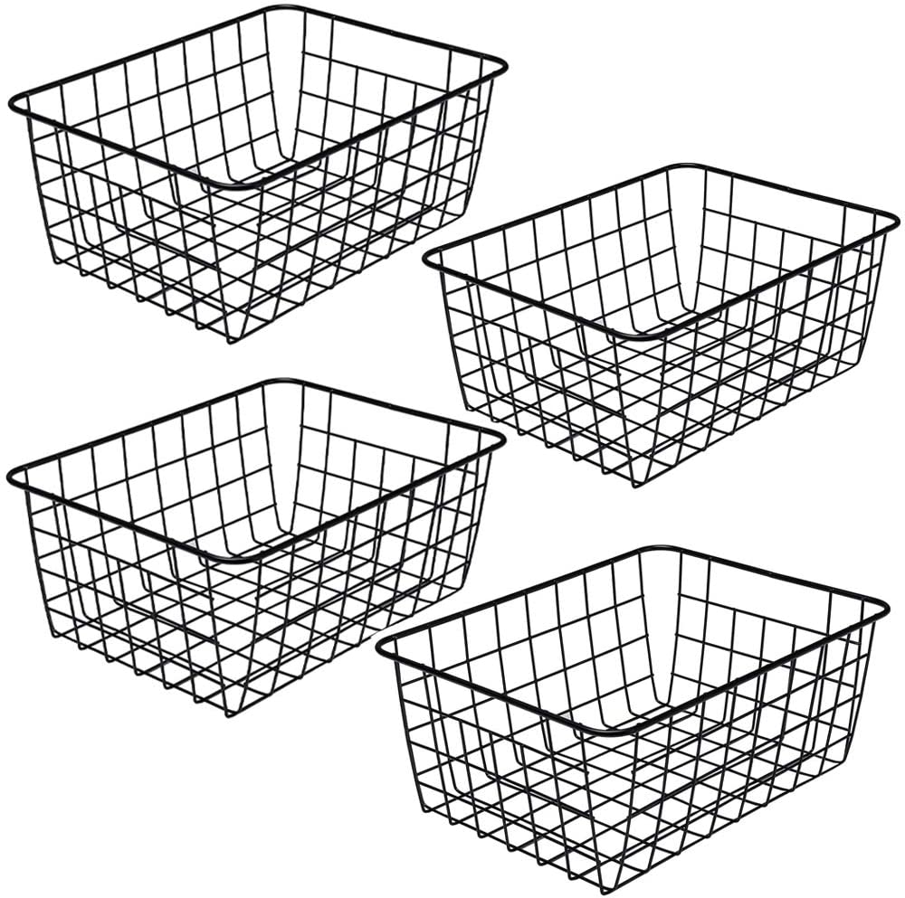 ZRAZ Kitchen Wire Baskets Farmhouse Decor Metal Food Storage Organizer, Household Refrigerator Bin with Built-in Handles for Cabinets, Pantry, Bathroom, Laundry Room, Garage,Set of 4 (Black)