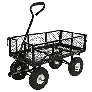 Sunnydaze Utility Steel Garden Cart, Outdoor Lawn Wagon with Removable Sides, Heavy-Duty 400 Pound Capacity, Black