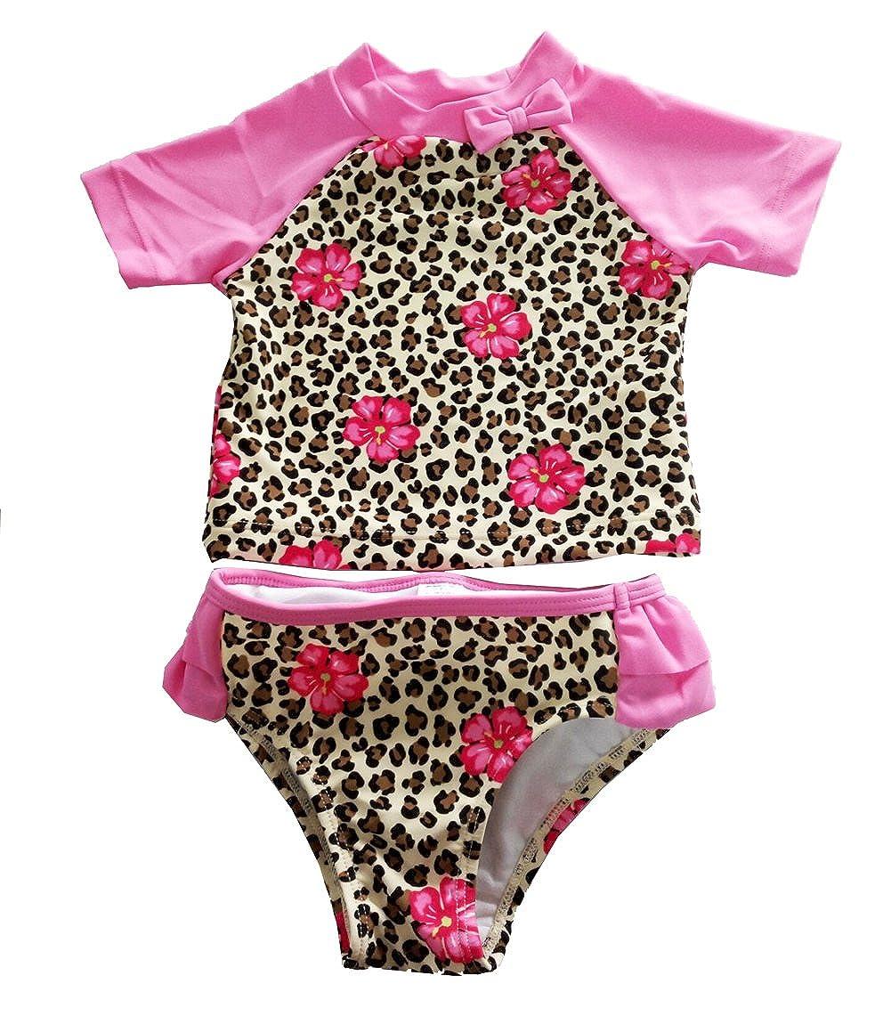 eKooBee Baby Little Girls Rash Guard Swimsuit Leopard Rose Ruffle Swimwears Tankini