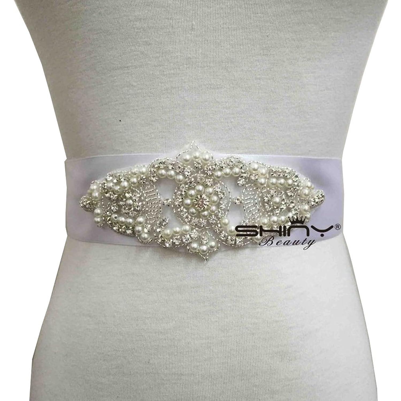 Wedding Belt Applique Bridal Belt,Crystal Rhinestone Off White Pearls RA003