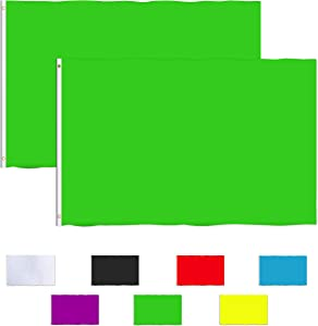 Consummate Solid Green Flag 3x5 Foot Plain Green Flags Banner Polyester with Brass Grommets,2 Pack
