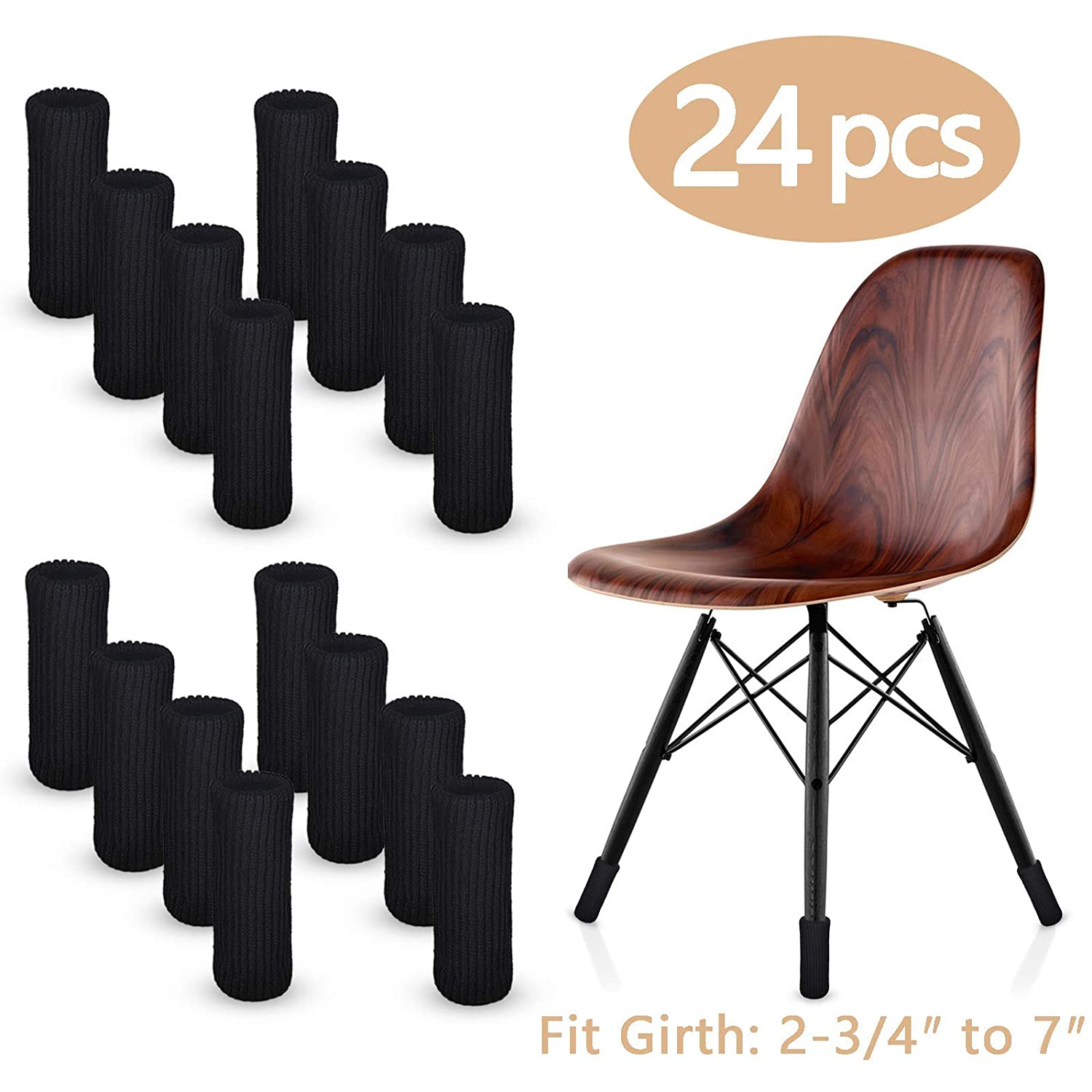 """LimBridge 24pcs Chair Socks, Elastic Wood Floor Furniture Chair Leg Feet Protectors Covers Caps Set, Fit Girth from 4"""""""" to 7"""""""", Vertical Knitted Black."""
