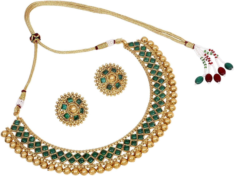 Amazon Com Sanara Indian Bollywood Beautiful Traditional Gold Plated Crystal Ruby Stone Necklace Earring Set Women Wedding Gift Jewelry Fashion Set Green Jewelry