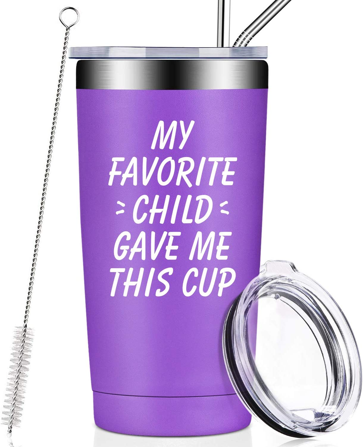 My Favorite Child Gave Me This Cup, Best Mom Birthday Gifts from Daughter, Son, Kids - Mother's Day, Father's Day, Christmas Funny Gifts Idea for Dad, Mama, Grandma, Women, Men, Wine Tumbler