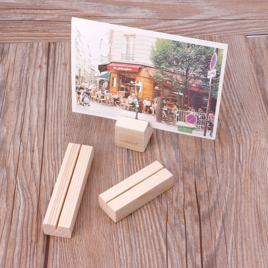 Hacloser Natural Wood Place Card Holders Memo Clips Photo Holder Clamps Stand Desktop Card Crafts Wedding Home Birthday Party Decorations (20, S:3 x 3 x 3cm/1.18'' x 1.18''x 1.18'') by Hacloser (Image #2)