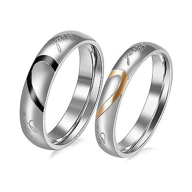 nouvelle collection 5e1be 9d00c JewelryWe Bijoux Lot de 2 Bague Homme Femme Appariement Coeur