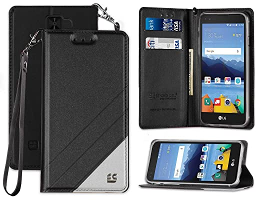 LG K8V Wallet CASE, Black Strap Lanyard Wallet Credit Card CASE Stand for  VERIZON LG K8V VS500 (K8-V)