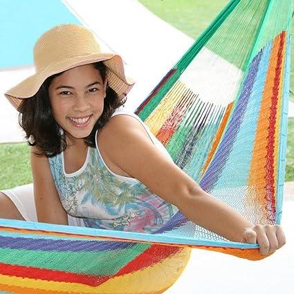 Sunnydaze Hand-Woven Mayan Hammock Portable, Double Size, 440 Pound Capacity, Multi Color
