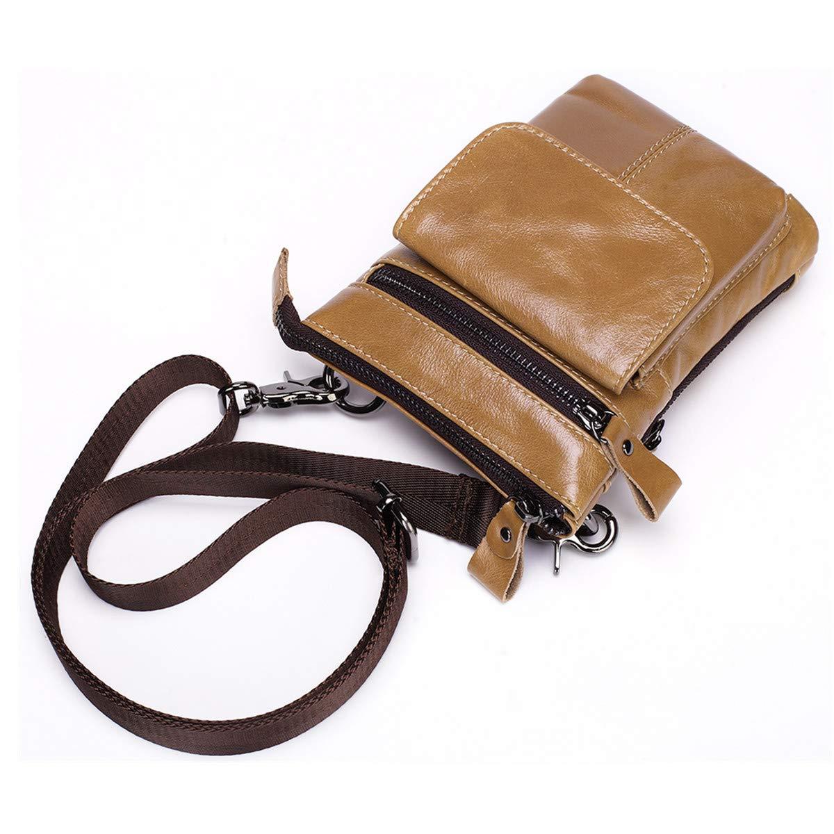 LJYH coffee Mens Sling Leather Purse Shoulder Bag Casual Crossbody Bag Travel Bussiness Bag