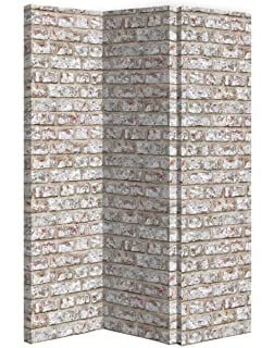 Amazoncom LYKE Home Brown Off white Wood Tri fold Room Divider