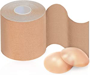XL Body Tape - 3'' Breast Lift Tape for DD - E cup + Reusable Silicone Nipple Covers