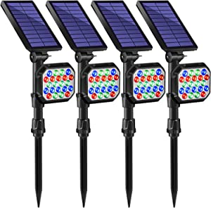 DBF 22 LED Outdoor Color Changing Solar Spotlight Solar Landscape Lights, Waterproof Adjustable 2-in-1 Wall Light Color Solar Powered Garden Lights for Yard Patio Pathway Decor, Pack of 4 (7 Color)