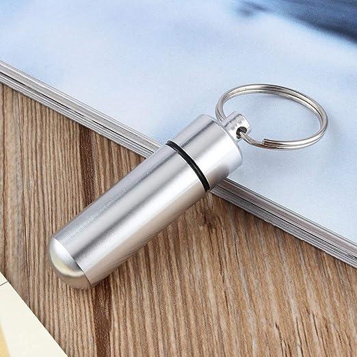 Moliies Mini portapillole Portatile in Alluminio Argento Impermeabile con portapillole Contenitore Porta farmaci con Portachiavi