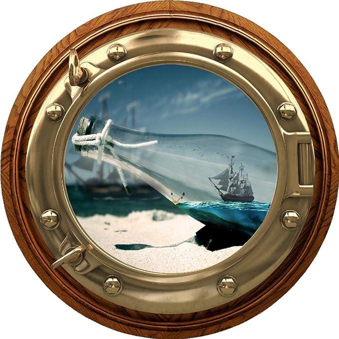 3D Porthole Window Pirate Ship Boat Sticker Wall Poster Vinyl GA25-164