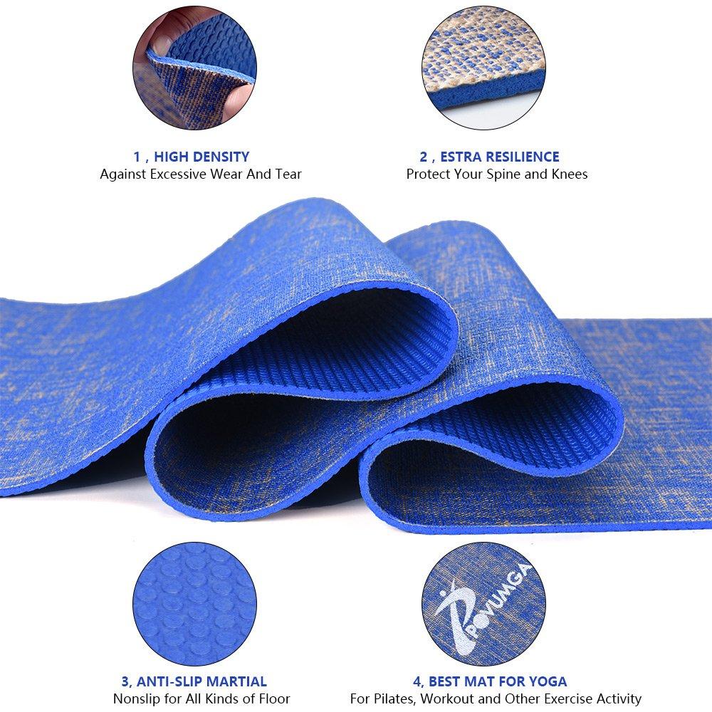 Gym Povumga Tapis de Yoga /écologique en PVC Absorbant antid/érapant Exercices Pilates abdominaux avec Sac de Transport /étirements 183 x 61 cm x 5 mm id/éal pour Yoga