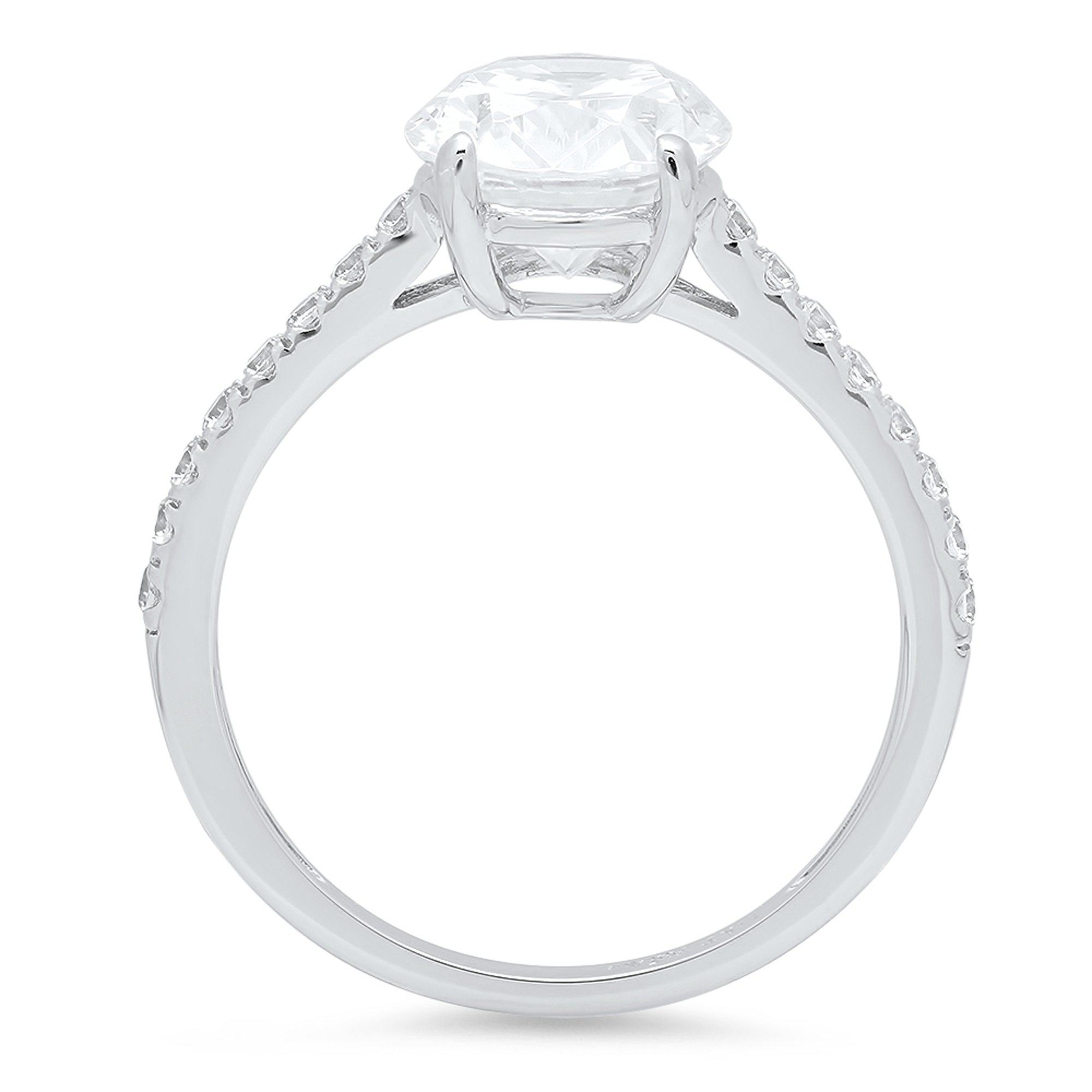 2.09 ct Brilliant Oval Cut Accent Solitaire Engagement Wedding Bridal Promise Ring Solid 14k White Gold, Size 7 Clara Pucci by Clara Pucci (Image #2)