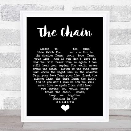 Amazon.com: The Chain Black Heart Wall Art Quote Song Lyric ...