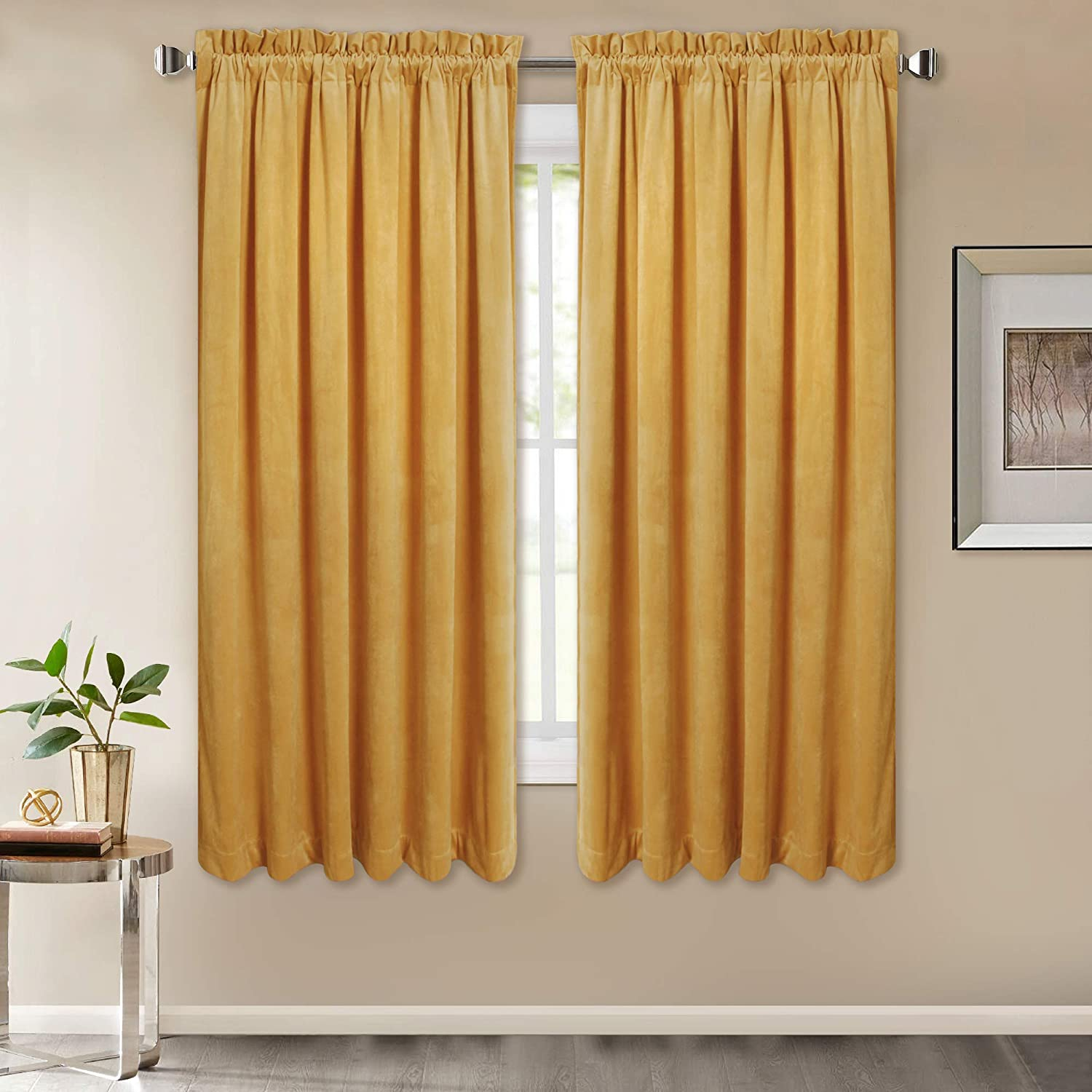 "Room Darkening Gold Velvet Curtains - Luxury Rich in Fluff Velvet Drapes Stylish Home Decor Window Treatment Set for Family Room/Holiday Fete, Orange Gold, Wide 52"" by Long 63"", Double Panels"