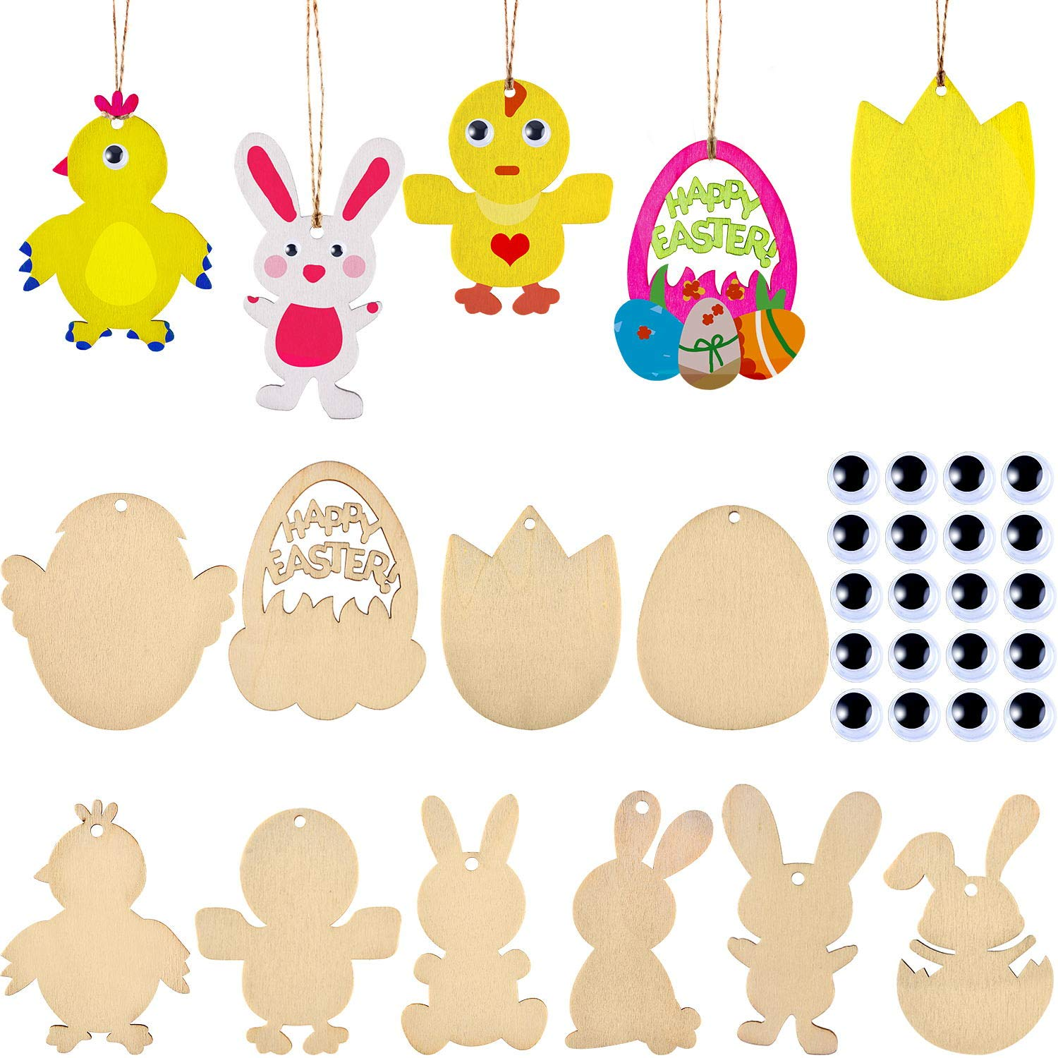 60 Pieces Easter Wooden Embellishments Unfinished Wooden Easter Egg Bunny Chick Tulip Shape Hanging Ornaments with Twines and Googly Wiggle Eyes for Crafts /& Easter Party Decorations