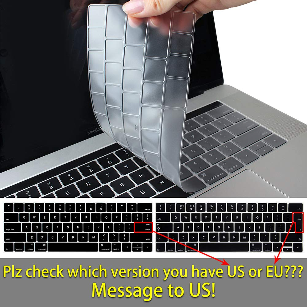 TwoL Ultra Thin TPU Keyboard Cover Skin for New MacBook Pro 16 inch 2019 Release with Touch Bar and Touch ID Transparent