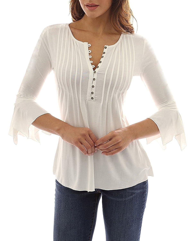 Minetom Donna Casuale Elegante Maglietta Manica Tunica Bottone Camicia  Manica 3/4 a Foglia di