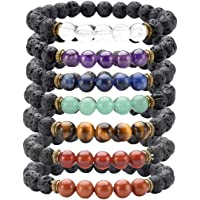 JSDDE 7 Chakra Healing Bracelet with Real Stones, Lava Diffuser, Mala Meditation Mens Womens Religious Stretch Bracelets - Protection, Energy, Healing, Aromatherapy