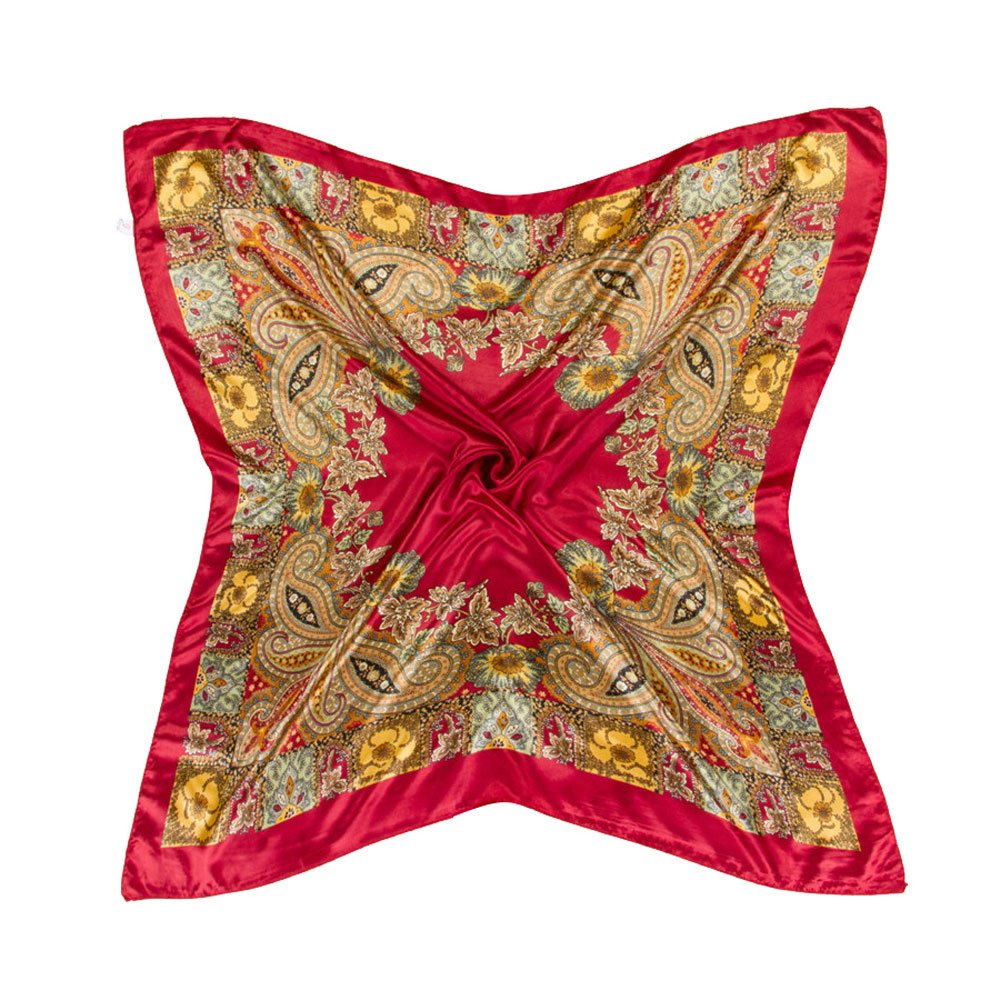 Vinmax Classical Pattern Large Square women girl Scarf Silk Scarves Elegant Scarves (Red)