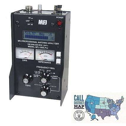 MFJ HF/VHF/UHF antenna analyzer w/meters and Ham Guides TM Pocket Reference  Card Bundle