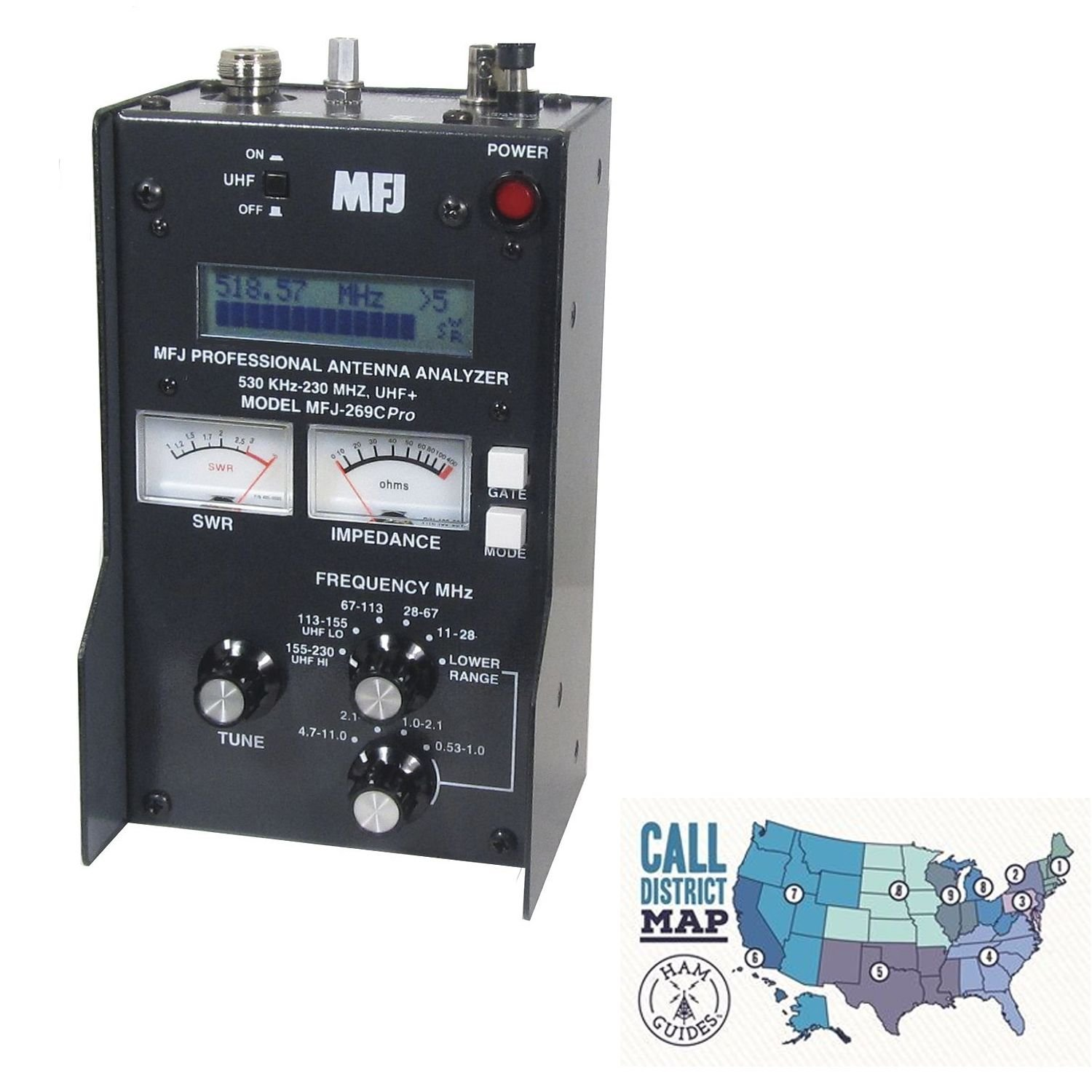 MFJ HF/VHF/UHF antenna analyzer w/meters and Ham Guides TM Pocket Reference Card Bundle