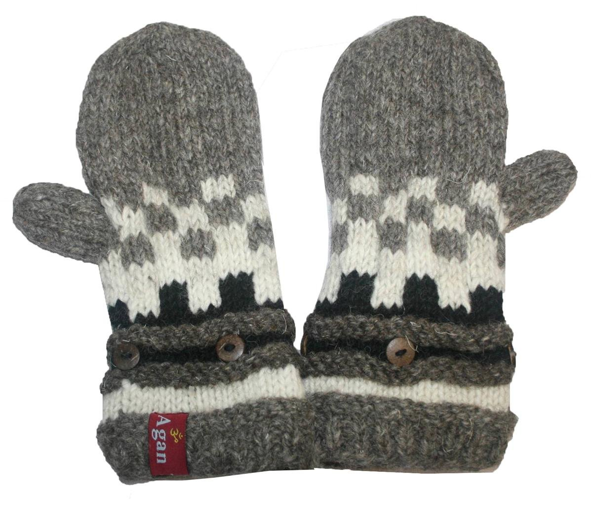 1402 MT Women's Hand Knit Wool Fleece Muga Mitten [Grey Multi]