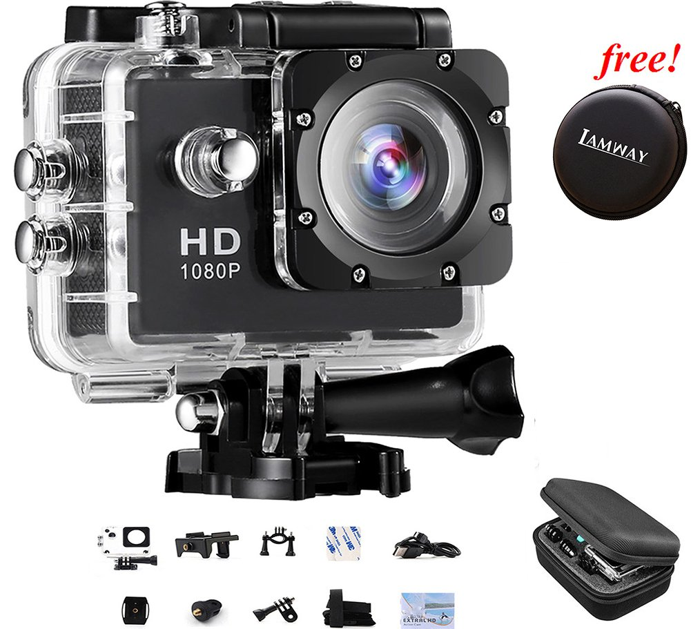 Action Camera IAMWAY Ultra HD 30 Meter 1080P Waterproof DV Camcorde 2.0 inch LCD Screen Sport DV Giveaway Free Of Portable Travel Case For Earpieces,USB cables,Chargers,Coins etc.(Black 1080P)